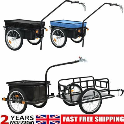 Folding Bicycle Cargo Storage Bike Trailer Enclosed Cart Removable Cover Hitch • 66.99£