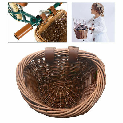 1X Hand-Woven Natural Wicker Bicycle Basket Bike Handlebar Front For Girls • 9.84£