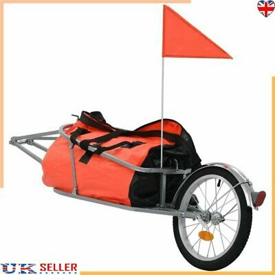 Bike Luggage Trailer With Bag Orange And Black Bicycle Suitcase Trailer Cycling • 68.69£