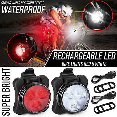 Rechargeable USB LED Bike Bicycle Head And Tail Cycling Front Back Headlight Set • 7.49£