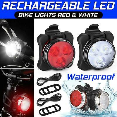 Rechargeable Bike Lights LED USB MTB Bicyle Front + Rear Headlight Waterproof UK • 7.99£