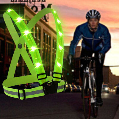 Adjustable USB Rechargeable LED Reflective Belt Vest For Running Cycling #CL • 12.49£