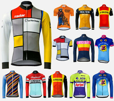 Mens Retro Long Sleeve Cycling Tops Reflective Bike Jersey For Winter Autumn UK • 16.69£