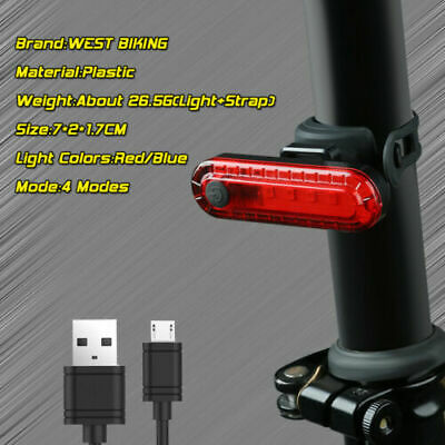 Bike Bicycle USB Rechargeable Rear Light Red 4 Modes LED Tail Lamp • 4.79£