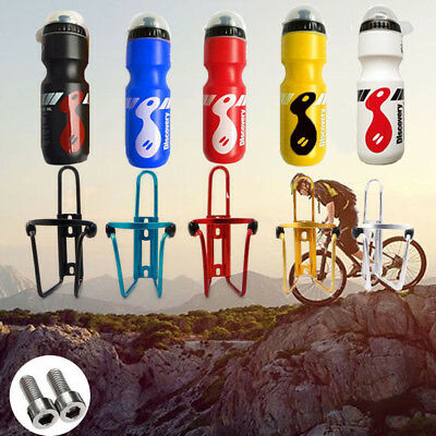 750ML Mountain Bike Bicycle Cycling Water Drink Bottle And Holder Cage Portable • 8.49£