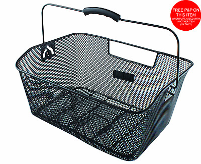 Black Bicycle Wire Mesh Basket Fits On To Front Or Rear Carrier Shopping Luggage • 6.99£
