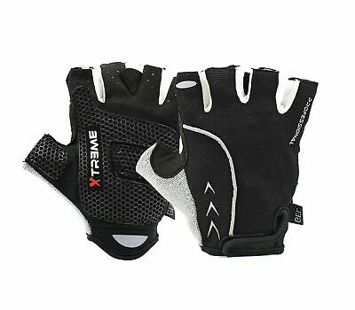Cycling Gloves Bike MTB Half Finger Honeycomb Gel Palm Black XS-XXL • 9.99£