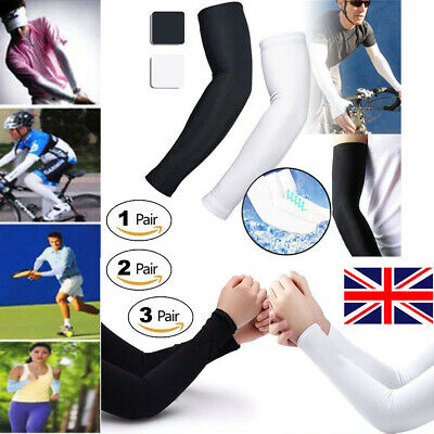 1/2/3 Pairs Cooling Arm Sleeves Cover UV Sun Protection Basketball Golf Sports • 3.09£