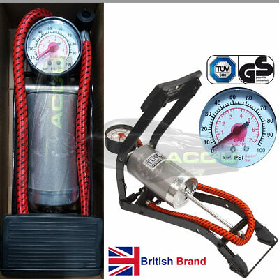 RaceX GS TUV Approved Car Bike Ball Air Beds Single Barrel Foot Pump + Adapters • 8.95£
