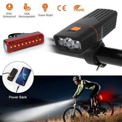 15000LM LED Bicycle Bike Lights USB Rechargeable Headlight Front Rear Tail Lamp • 12.89£