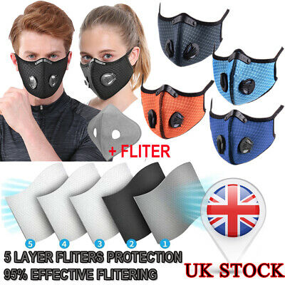 UK STOCK-Protective Face Mouth Nose Cover +Filter Cycling Outdoor Mask PM2.5 • 7.99£