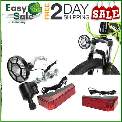 Bicycle Lights Set Kit Bike Safety Front Headlight Taillight Rear Light Dynamo • 7.70£
