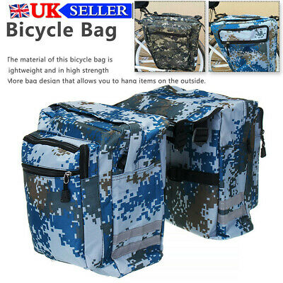 Camouflage Double Panniers Bag Bike Bicycle Cycling Rear Seat Trunk Rack Pack UK • 15.99£