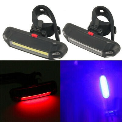 LED USB Rechargeable Bike Bicycle Lights White Front Red Back IP4 Waterproof UK • 3.99£