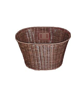 Dark Brown Plastic Wicker Bicycle Basket, Good Quality, New, No Fittings • 5£