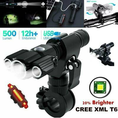 Rechargeable LED Mountain Bike Lights 18650 Bicycle Torch Front & Rear Lamp Set • 14.99£