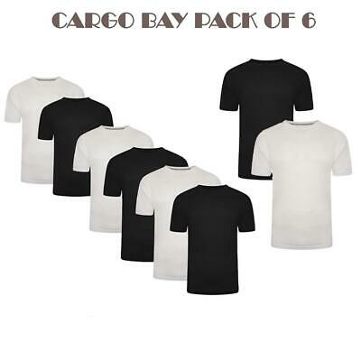 Cargobay Mens T Shirt Pack Of 6 & Pack Of 2 Plain Crew Neck Cotton Tee Shirt Top • 17.99£