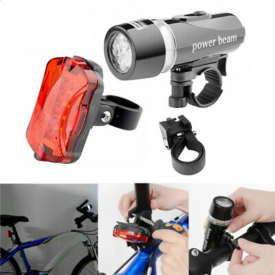 Waterproof Bright 5 Led Bike Bicycle Cycle Front And Rear Back Tail Light Lights • 4.59£