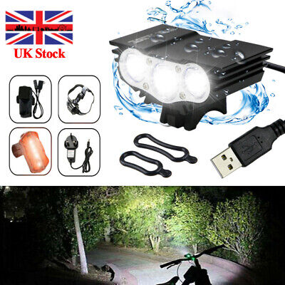 UK LED Mountain Bike Lights Bicycle Torch Front & Rear Lamp USB Rechargeable Kit • 20.99£