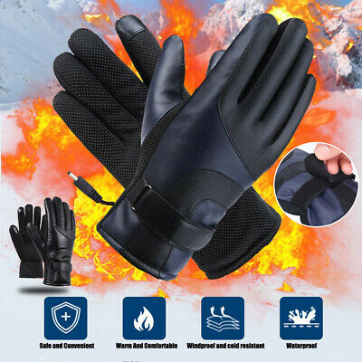 USB Heated Gloves Winter Hand Warm Touch Screen Rechargeable Heating Waterproof • 22.95£