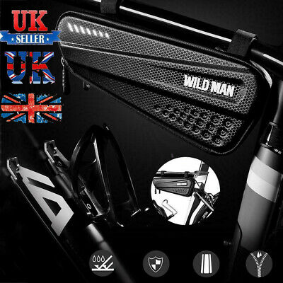 WILDMAN Hard Bicycle Triangle Bag Bike Frame Front Tube Waterproof Cycling Pouch • 11.38£