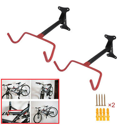 2x Bike Bicycle Wall Mounted Rack Storage Hanger Holder Hook Folding Space Saver • 12.99£