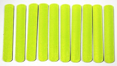 Ten High-viz  Reflective Slap Snap Bands Fluorescent Safety Straps One Size • 5.99£