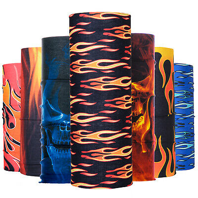 Women Men Fire Print Neck Tube Warmer Biker Scarf Bandana Snood Face Mask Band • 3.49£