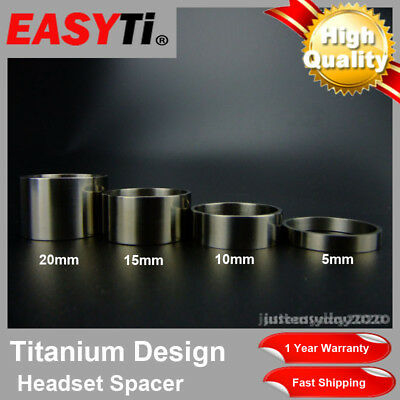 EasyTi 4pcs Titanium Ti Bicycle Headset Spacer 1-1/8  (5mm - 10mm - 15mm - 20mm) • 1.42£