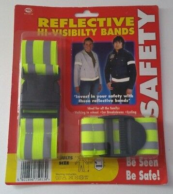 High Visibility Arm Strap Bands Reflective Safety Running Cycling Hi Fluorescent • 2.50£