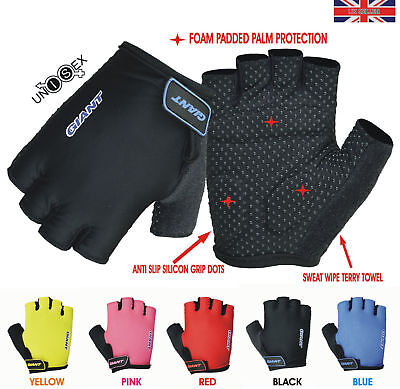 GIANT Half Finger Cycling Gloves Bike Bicycle Gel Padded Fingerless Cycle Gloves • 6.95£