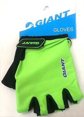 Hi Vis Florescent GIANT Bike Bicycle Fingerless Half Finger Cycling Cycle Gloves • 7.95£