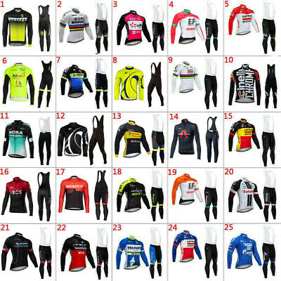 2020 Mens Team Thermal Fleece Cycling Jerseys Long Sleeve And Cycling Bib Pants • 35.43£