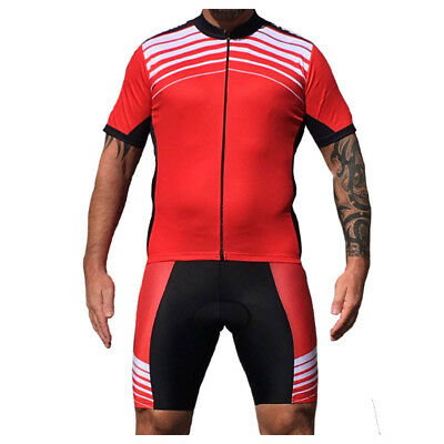 Mens Cycle Jersey & Shorts Set Striped Stripey Red White Black Cycling Clothing • 19.95£