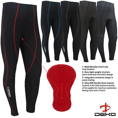 Mens Compression Cycling Tights Trouser Coolmax Padded Leggings Long Cycle Pants • 13.85£