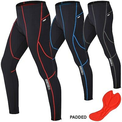 Mens Compression Cycling Tights Trouser Coolmax Padded Leggings Long Cycle Pants • 16.99£