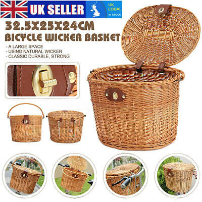 Wicker Bicycle Basket With Lid & Handle Bike Shopping/Picnic Brown  • 19.98£