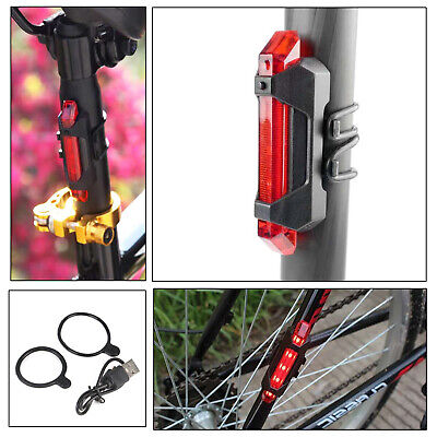 USB Rechargeable 4 Modes 5 LED Flash Bike Cycle Red Rear Tail Back Light Lamp UK • 3.99£