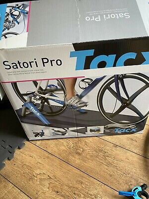 Tacx Satori Pro Turbo Trainer + Riser + Mat + Rear Wheel Skewer + Training Tyre • 245£
