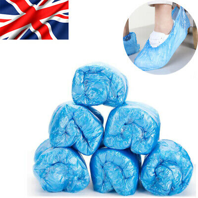 UK Anti Slip Disposable Shoe Cover Plastic Cleaning Overshoes Boot Safety Blue • 6.98£
