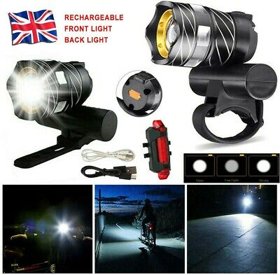 LED MTB Rear&Front Set 15000LM Bicycle Lights Bike Headlight USB Rechargeable UK • 9.99£