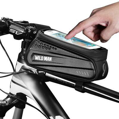 WILD MAN Waterproof MTB Bicycle Phone Bags Touch Screen Bike Top Tube Pouch • 8.59£