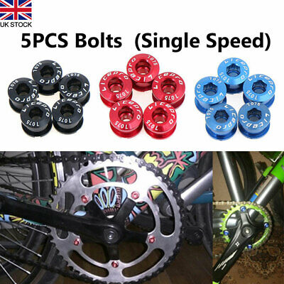 5x Aluminum Alloy Bike Cycle Chainring Bolts Screws Single Speed Chain Ring Set • 5.24£