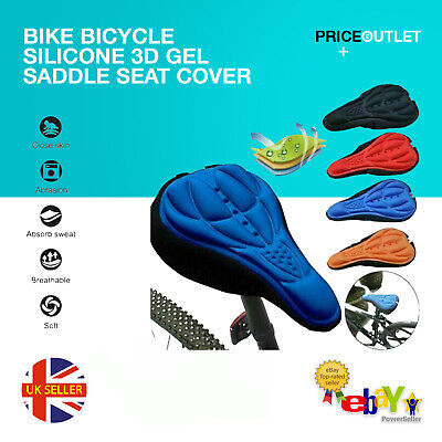 Bike Seat Cover Bicycle Silicone 3D Gel Saddle Pad Padded Soft Cushion Comfort • 2.99£
