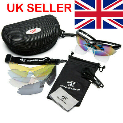Pro Polarized Cycling Glasses Bike MTB Sports Sunglasses 5 Lens Goggles ROCKB • 12.79£