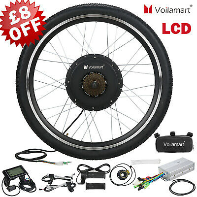 Voilamart 1000W Electric Bicycle Conversion Kit Rear Wheel EBike LCD Meter 26  • 199.99£
