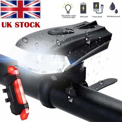 MTB Bike Bicycle Cycling USB Rechargeable LED Head Front Light/Rear Tail Lamp UK • 9.98£