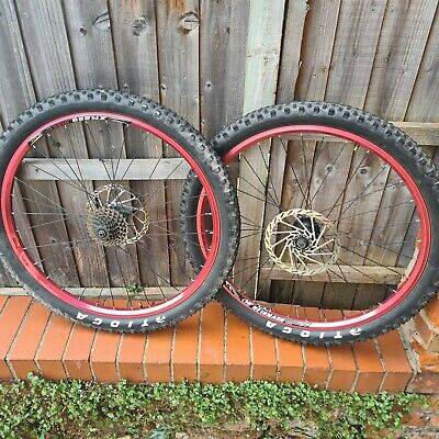 Shimano Deore 26 Wheels Red Weinman Tioga Tyres Qr 180mm • 70£