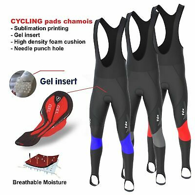 FDX Mens Thermodream Cycling Bib Tights Winter Thermal Gel Padded Cycling Tights • 24.95£