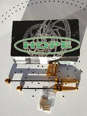 RETRO VINTAGE  GOLD HOPE MTB SPACERS AND QR'S  (Bike Bling) • 35£